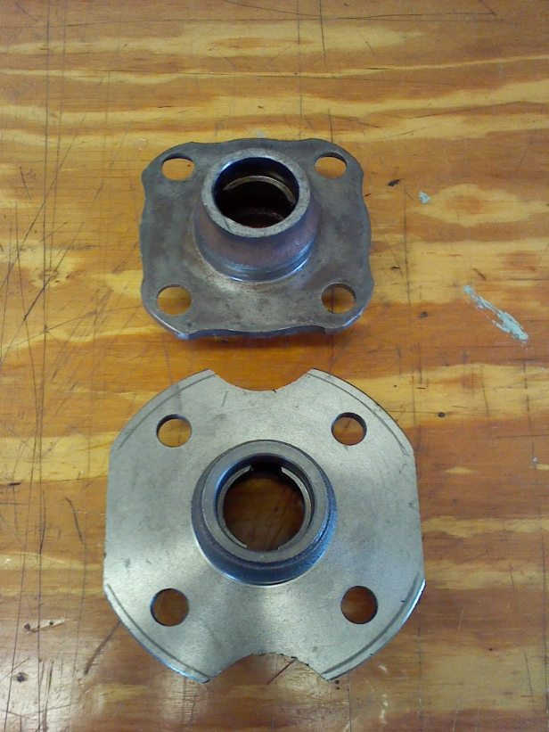 old-hub-and-new-hub-marked-for-grinding